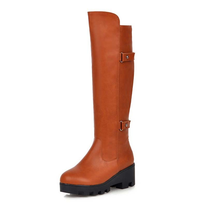 Knee-High Boots New Round Toe Fashion Soft Leather Winter knight boots Black Brown Grey Women Platform motorcycle boots<br><br>Aliexpress