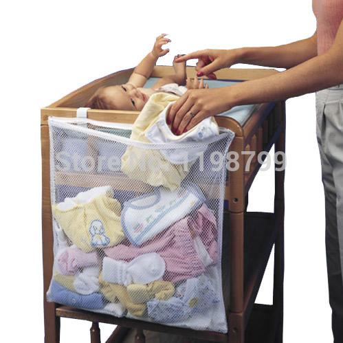 5PCS 2015 New Super Large White Baby Bed Accessories 48*60cm Mesh Fabric Hanging Laundry Storage Bag TRQ0018(China (Mainland))