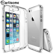 Anti-knock Case For iPhone 5S 5 SE Cover Crystal Clear Acrylic + Silicone TPU Case For iPhone 5 5S SE Phone Cover Coque ARTISOME(China (Mainland))