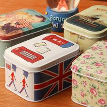 5pcs/lot  square tin storage box tea canister vintage coffee container(China (Mainland))