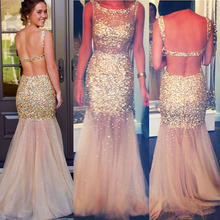 Champagne Backless Tulle Prom Dress Mermaid All over Gold Beaded Sexy Party Dresses Factory Custom Made(China (Mainland))