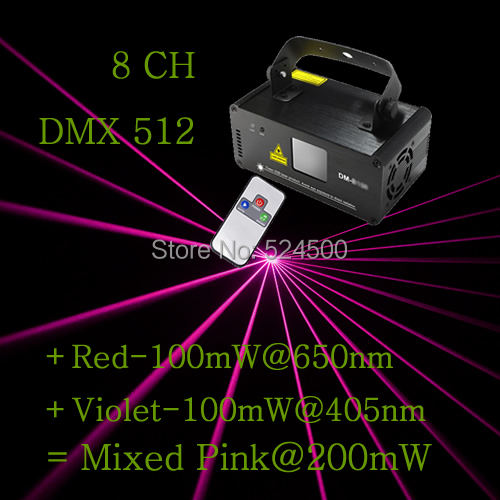 New IR Remote 8 CH DMX 512 PRO Mini 200mW Pink Laser DPSS Stage Lighting Scanner DJ Party Show Projector Equipment Light DM-P200(China (Mainland))