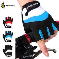 WOLFBIKE Professional Cycling Glove Motorcycle Racing Gloves guantes ciclismo Bike Bicycle Half Finger Genuine Motocross Mittens