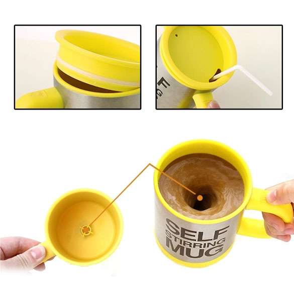 New Stainless Lazy Self Stirring Mug Automatic Mixing Coffee Cup Yellow V3NF