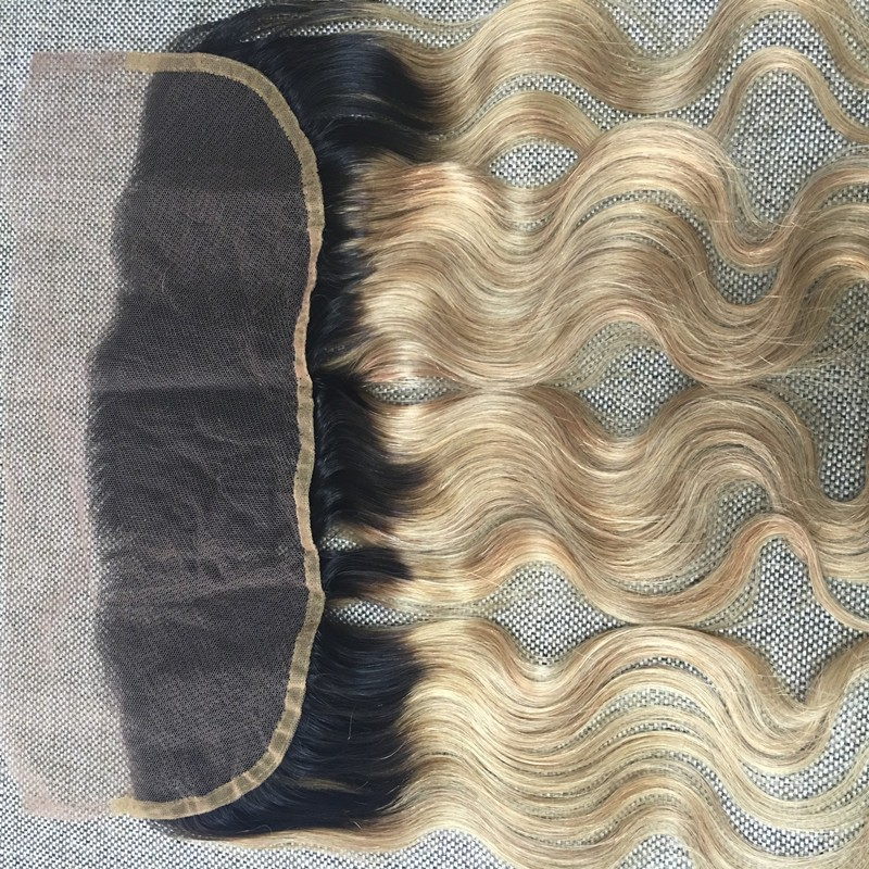 Full Shine Body Wave Remy Human Hair Weave Bundles with Lace Frontal Bleached Knots 13*4 Human Hair Weft Closure 1B Ombre #27