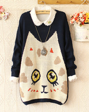 2015 Autumn winter new preppy style sweater loose long-sleeve cute big cat face pullover knitted sweater outerwear(China (Mainland))