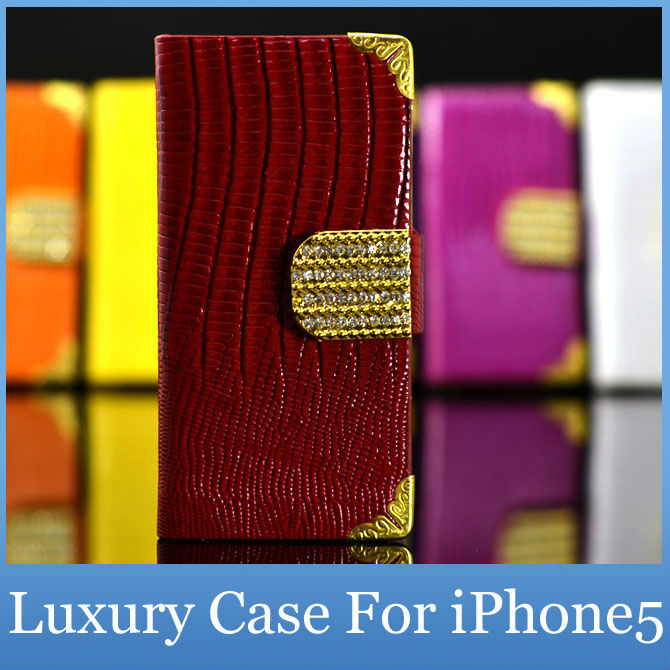 Luxury Diamond Bling Pu Leather Crocodile Flip Cover For Apple iPhone 5S 5GS Fashion Cell Phone Wallet Case For iPhone5S 5G(China (Mainland))