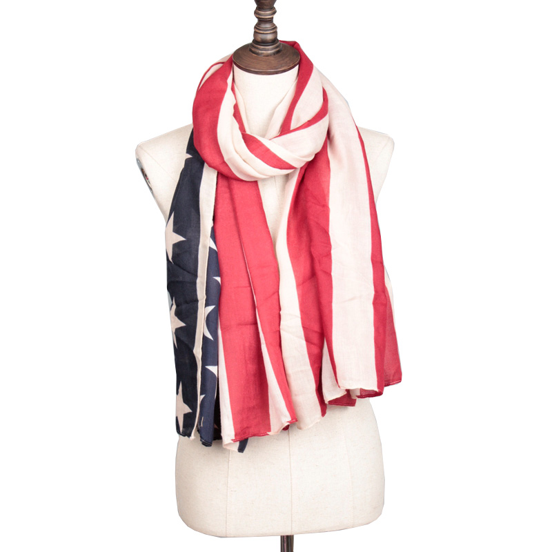 new style usa flag scarf american star stripe printed pattern red blue thick style good quality free shipping(China (Mainland))