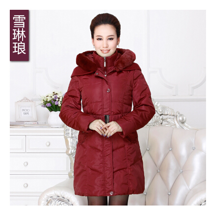 Фотография 2015 Winter Thicken Warm Women Slim Down Jacket Hooded Overcoat Fur Collar Padded Coat Parkas Mid Long Belt Plus Size 4xxxxl
