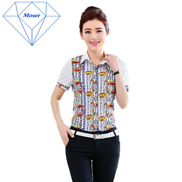 New Popular Women's Fashion Leisure Summer New Style Of Animal Printed Chiffon Shirt And Leisure Short-Sleeved Shirt size(China (Mainland))