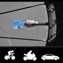ID 7mm Skull Head Shape Blue LED Light Motorcycle Car Tire Decor Valve Cap Cover 2 Pcs Decoration Discount 50(China (Mainland))