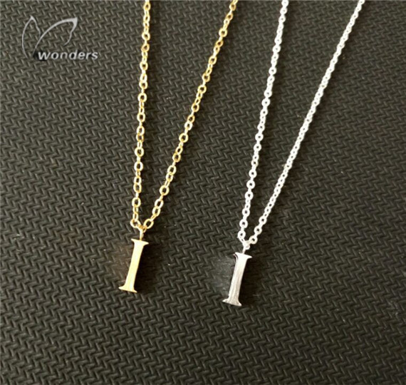 2015 Summer Minimal Jewerly Silver Plated Chain Simple Gift for her Under Cute  I  Alphabet Pendant Necklace Birthday Gift<br><br>Aliexpress