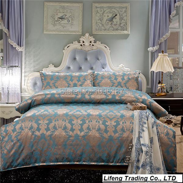 luxury jacquard bedding set queen/king size 100% cotton bed set reactive printed bed linen 4pcs/set comforter/duvet cover quilt(China (Mainland))