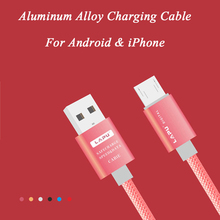 SA86 1m Aluminum Nylon Charging Cable USB Data Sync Transfer Cord For iPhone 5 5s 6 6s Plus SE Android Samsung Mobile Phone