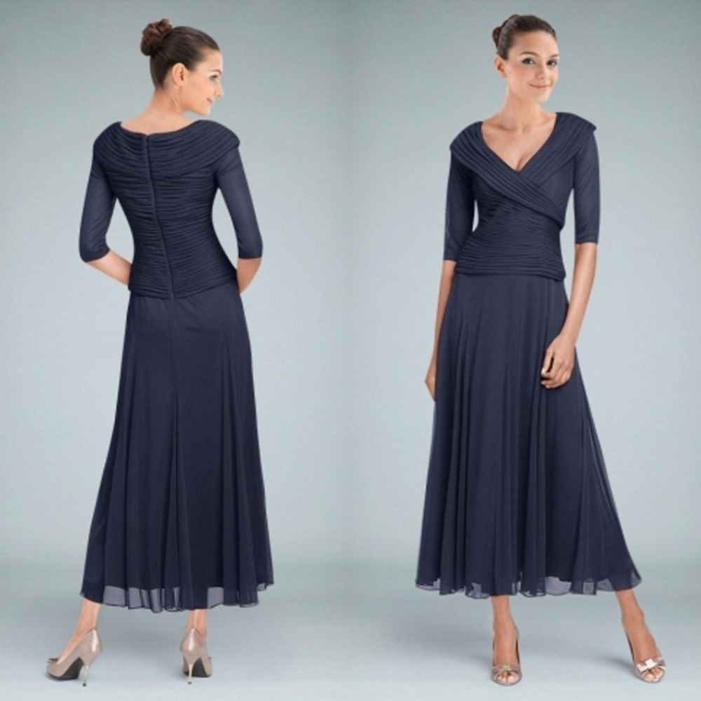 Dark navy tea length mother of the bride dresses with for Navy dresses for weddings