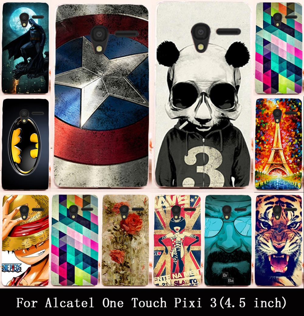 Cute Painted Hard PC Cover Case For Alcatel OneTouch Pixi 3 (only for 3G Version) 4.5 inch 4027 4028 Housing Cover Skin Shell(China (Mainland))