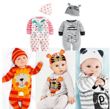 Baby clothing 2015 carters brand Baby rompers cartoon animal Jumpsuit climb clothes+hat fleece infant newborn boy girl clothes(China (Mainland))