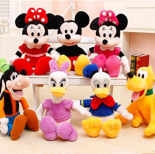 6pcs/set 28cm/30cm Mickey and Minnie Mouse,Donald duck and daisy,GOOFy dog,Pluto dog,plush toys funny toy free shipping<br><br>Aliexpress