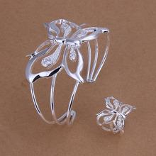 Заводские цены высокое качество посеребренная бабочка ювелирные изделия устанавливает ожерелье браслет серьги кольцо бесплатная доставка SMTS260(China (Mainland))