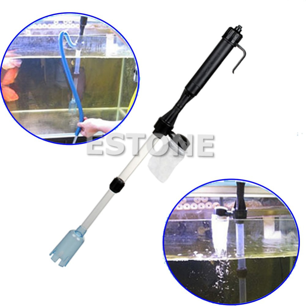 Free Shipping Aquarium Battery Syphon Auto Fish Tank Vacuum Gravel Water Filter Cleaner Washer(China (Mainland))
