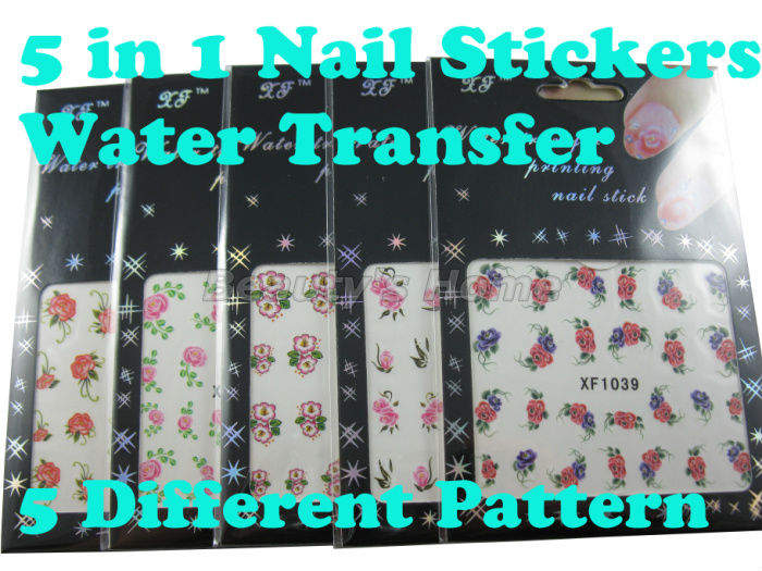 5 1 water transfer nail designs Nail Stickers decals Art Decoration different pattern #0889 - Packing Supplier(Bottles and Jars store)