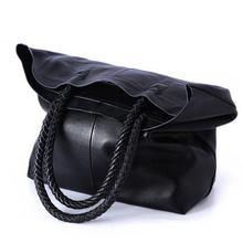 2016 New Women Handbag Genuine Leather Shoulder Bag Cowhide Ladies Black Brown Casual Shopping Bag Large Capacity Tote Bolsos(China (Mainland))