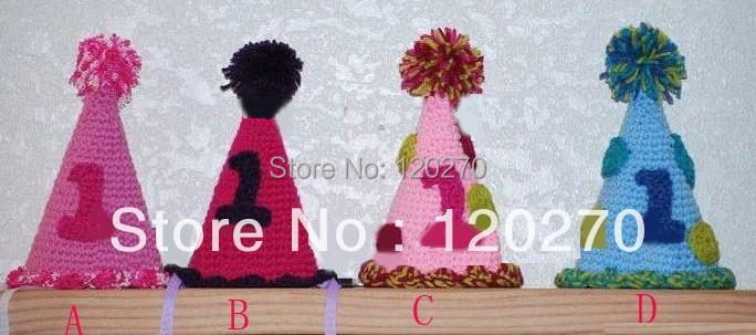 Free Shipping Baby Boys Girls Birthday Hat Newborn Infants Toddler Christmas Hat Kids Knitted Cotton Children's Beanies Earflaps(China (Mainland))