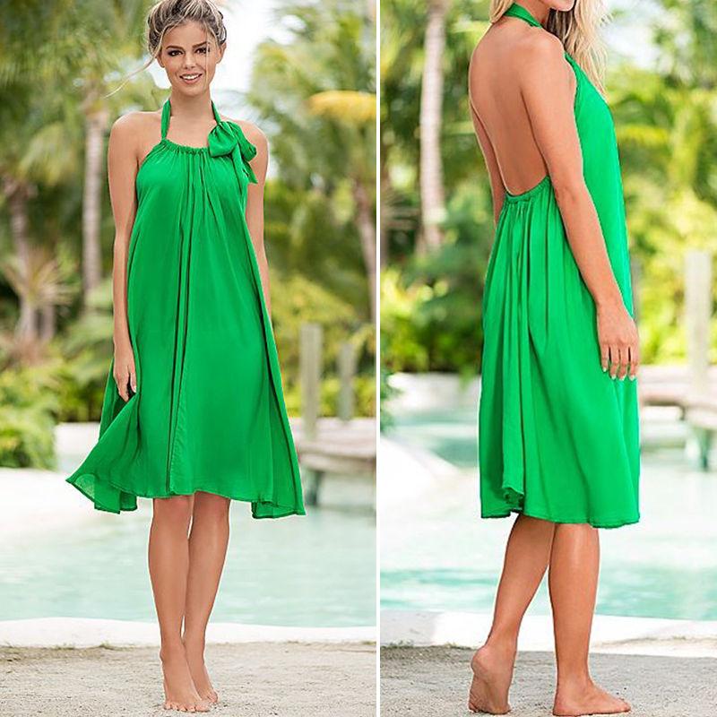 2016 Sexy Lady Women Boho Beach Summer Sundress Dress Fashion Green Dress(China (Mainland))