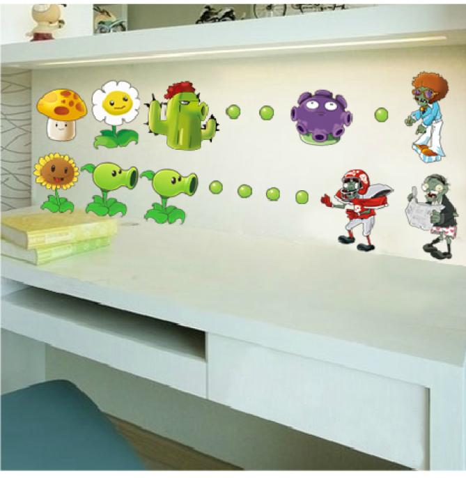 Plants Vs Zombies removable Wall Stickers sticker BIG Nursery Kids Decal Home Decor decoration bathroom Cartoon WSzombies(China (Mainland))