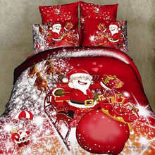 Ywxuege Red Merry Christmas Gift Bedding set Snow Santa Claus,4pcs Queen Size 100%Cotton Duvet/quilt Cover Bedsheet 6 Pattern!!!(China (Mainland))