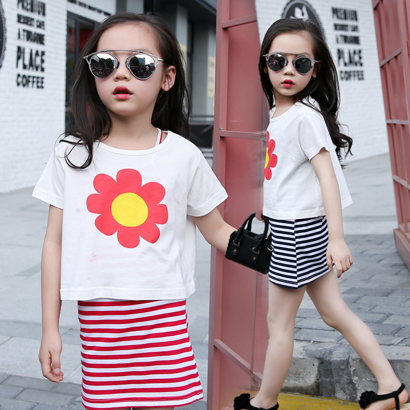 2016 New Arrival Children's Clothes Sets Summer Baby Girls Clothing Sets Two Pieces Striped T Shirt + Dress Suits Children's Set(China (Mainland))