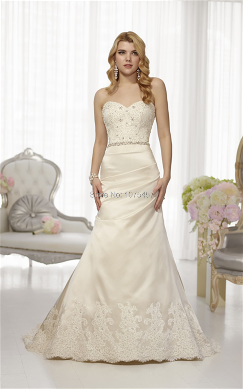 New arrival ivory wedding dress with lace 2015 sweetheart for Satin a line wedding dress