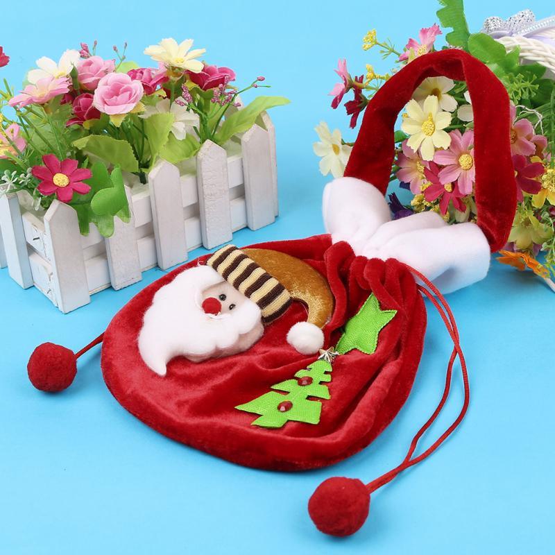 1x Christmas Gold Velvet Gift Bag Christmas Gift Bag Santa Clause / Snowman Pattern Candy Bag Tree Decoration(China (Mainland))