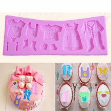 DIY baby clothes dress children bithday party girl boy silicone baking sugar fondant tool cake mold(China (Mainland))
