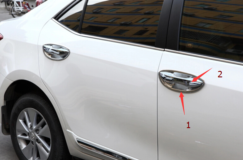 Chrome Side Door Handle Cover & Handle Bowl Trim A Full Set For Toyota Corolla 2014(China (Mainland))