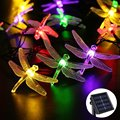 6M 30 Led Dragonfly Outdoor Lighting RGB Solar Light Led Christmas String Fairy Lights For Home