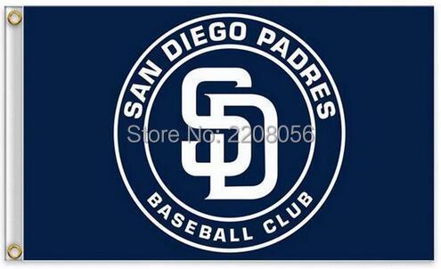 San Diego Padres Flag MLB Flag hot sell goods 3X5FT 90x150cm Sport Outdoor Banner brass metal holes Custom flag(China (Mainland))