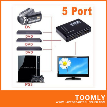 Hot sell Mini 5 Port 1080P Video HDMI Switch Switcher Splitter with IR Remote free shipping