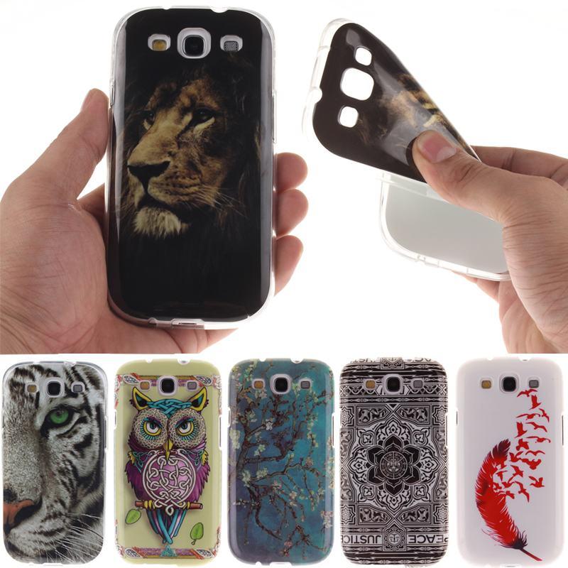For Capa Samsung Galaxy S3 i9300 Case Soft Silicone Phone Cover Samsung Galaxy S3 Case Cute Lion Owl Flower Ultra Thin TPU Back(China (Mainland))