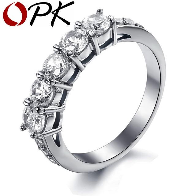 OPK JEWELRY AAA CZ Diamond Wedding Bands Titanium Steel Couple Ring Decorate Clear Austrian crystal  7645
