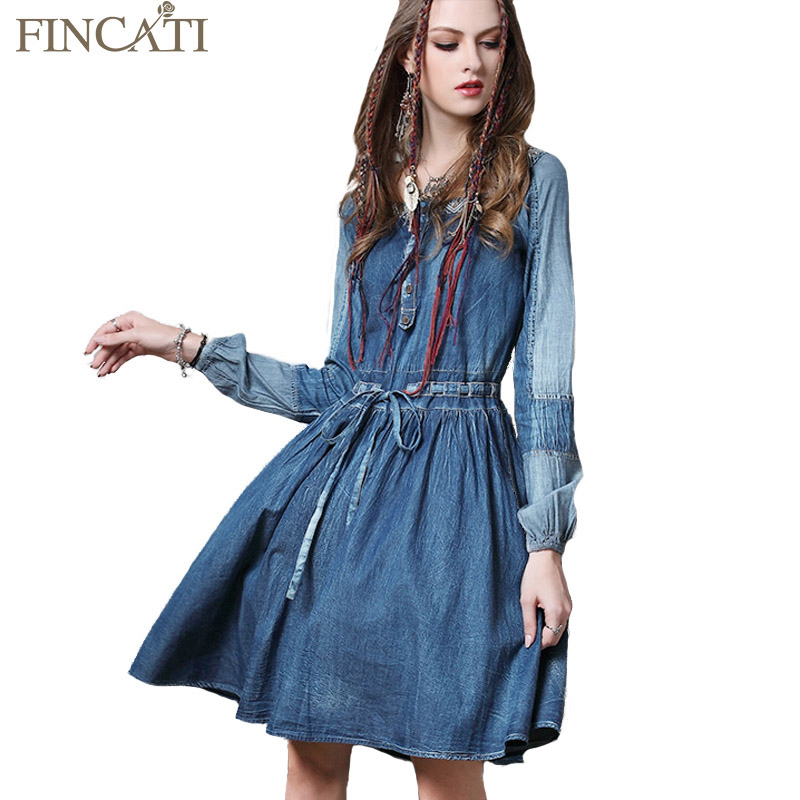 Compare Prices on Long Sleeved Denim Dress Vintage Denim Dress ...