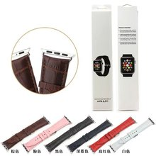 Nuevo patrón del cocodrilo del cuero genuino de Apple reloj correa de la banda para Apple reloj iWatch 42 MM 6 colores
