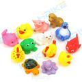 13Pcs Set Cute Soft Rubber Duck Float Squeeze Sound Baby Wash Bath Toys Play Animals Toys