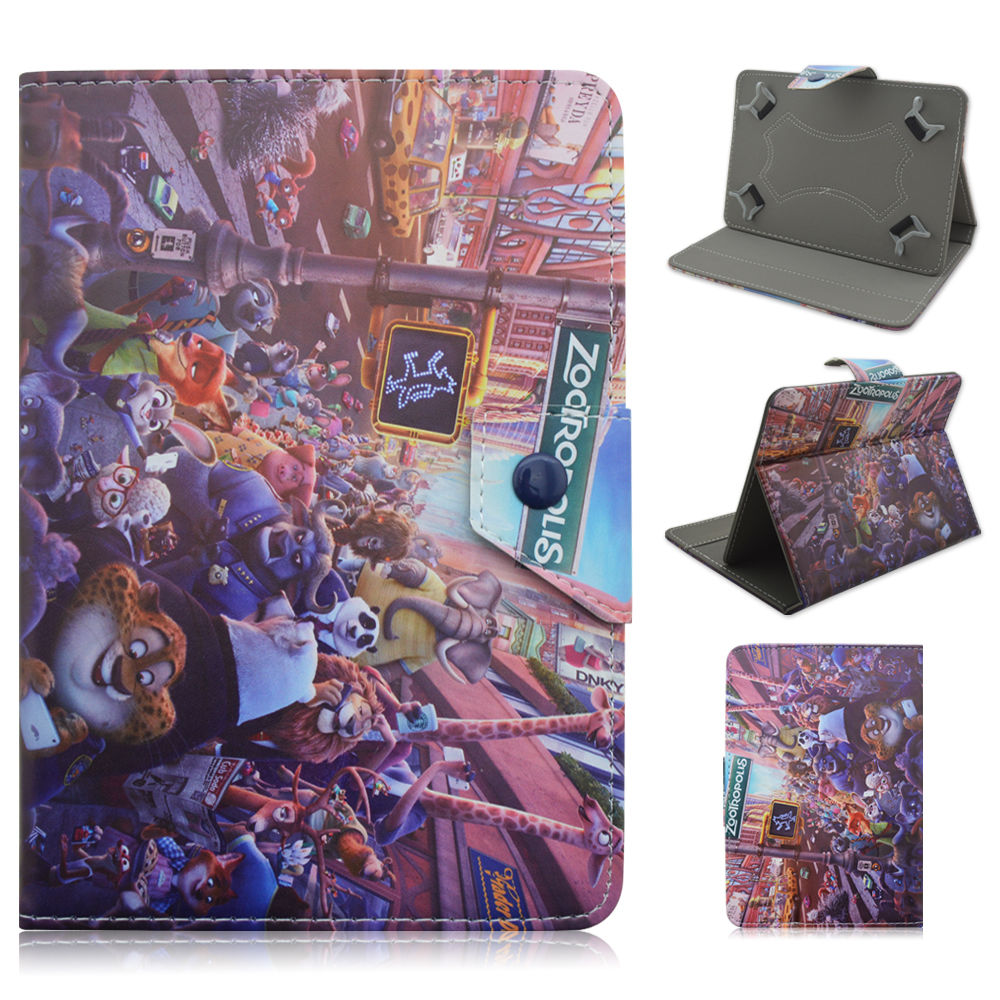 2016 Kids Cute Cartoon Zootopia Leather Stand Case Cover For Dragon Touch Y88X Plus / Y88X / Y88 / Q88 A13 7 Inch Tablet PC(China (Mainland))