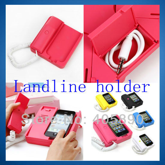 Telephone Landline Handset with Holder for iPhone 4 4S Retro Type Mobile Phone Receiver(China (Mainland))