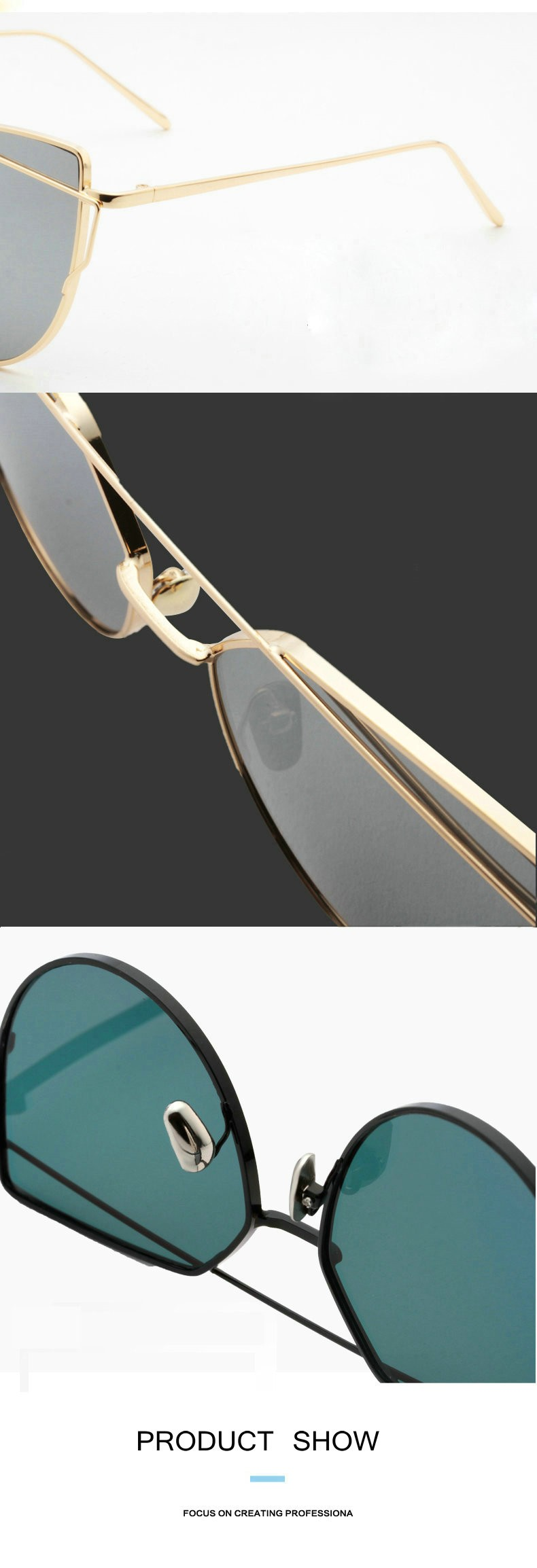 IVE 2016 NEW Brand Designer Women Sunglasses Metal Frame Flat Sun glasses Vintage Mirror Shades LXQ3196
