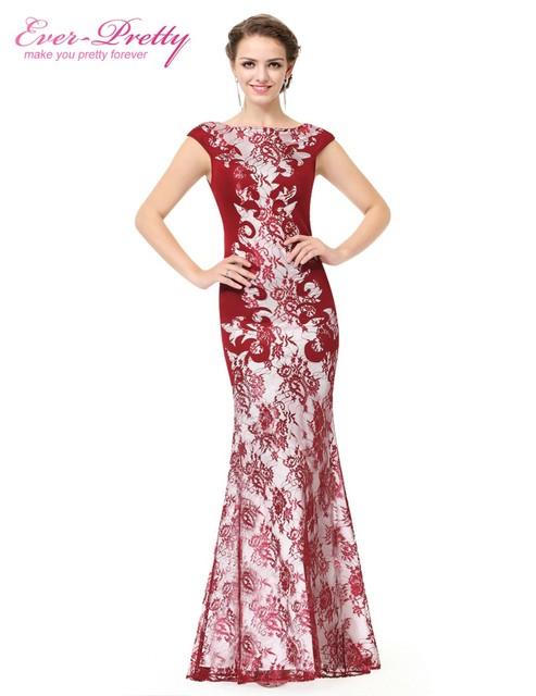 Сексуальная длинные черный красный кружева зимний вечер ну вечеринку платья формальные ...