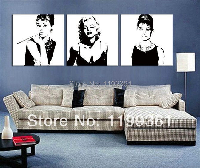 3 Piece Free Shipping Modern Wall Painting Marilyn Monroe Audrey Hepburn Home Decoration Art Picture Paint on Canvas Prints(China (Mainland))