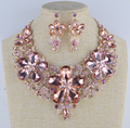 New Arrival light peach color statement necklace sets For bridal wedding jewelry party dress accessories Valentine