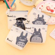 1 Pcs Men & Women Cute Cartoon Coin Purse Wallet My Neighbor Totoro Silicone Jelly Keychain Bag Transparent Card Holder(China (Mainland))